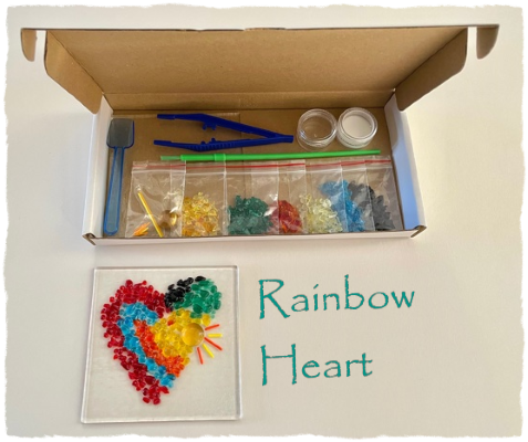 Fused Glass Craft Box - Rainbow Heart Suncatcher